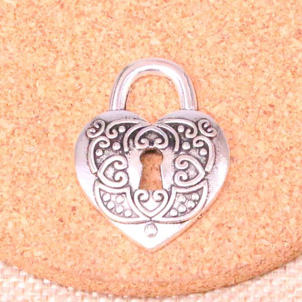 24pcs Antique silver heart lock Charms Pendant Fit Bracelets Necklace DIY Metal Jewelry Making 32*22mm