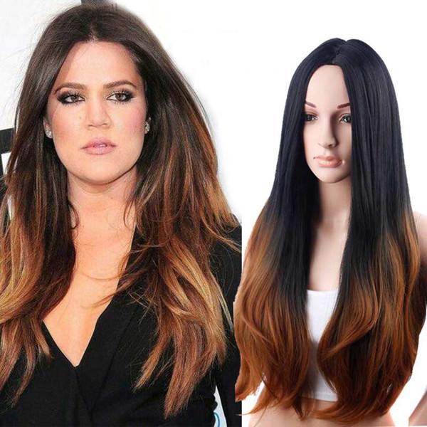 Fournisseur en stock sexy 100% non transformés remy vierge cheveux longs brun clair ombre couleur soyeux droite pleine dentelle cap perruque pour les femmes