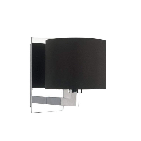 Wall Lamp Rectangular Polished Chrome Base Wall Sconces Manual Switch Mini Strong Transparent Black Lampshade Light
