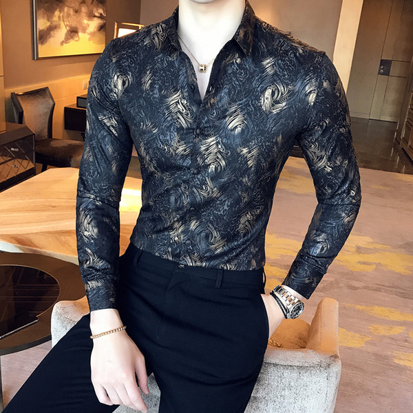 top popular 2018 Autumn and Winter New Boutique Fashion Gold Silk Print Men's Casual Long-sleeved Shirts   Slim Leisure Men's Shirts 2021