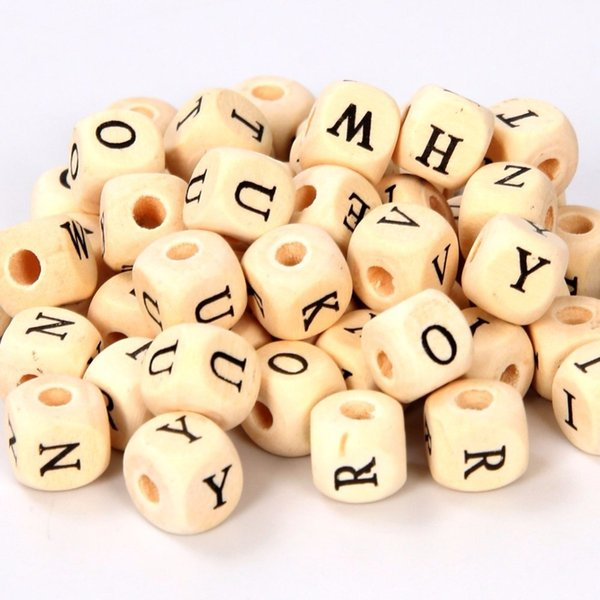"""Jewelry findings Mixed Wooden Letter/ Alphabet Beads Letter """"A-z"""" Cube Beads Size 10x10mm For Kid Craft Project 300pcs/set"""