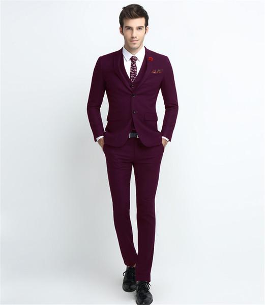Compre Nuevo Traje Para Hombre Traje De Tres Piezas Chaqueta Pantalón Chaleco Vestido De Traje Sólido De Color Sólido Para Hombre Vestido De Novia
