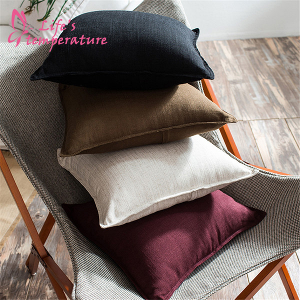 Lucia Simple Style 45*45cm Solid Linen Cotton Hemming Home Decoration Cushion Cover For Sofa Car Chair Bedding Pillow Cover