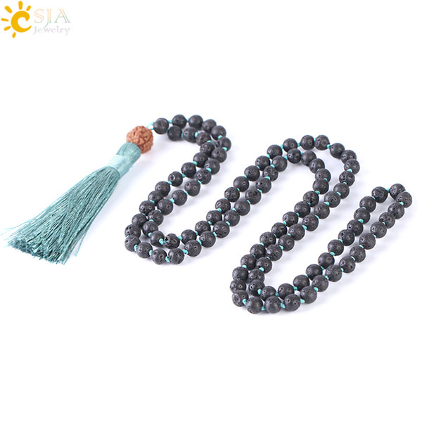 CSJA 82cm Natural Lava Rock Necklace 108 Mala Bead 6mm Knotted Long Tassel Necklaces Buddhist Vajra Bodhi Beads Meditation Pray Jewelry F373