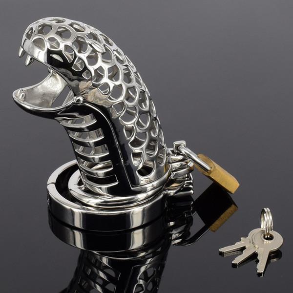 Новое мужское устройство целомудрия проектирует новый пояс стали целомудрия для мужчин новые устройства целомудрия змея дизайн петух клетка со съемным шиповым кольцом