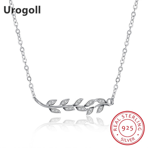 Classic Leaf Leaves Pendant Necklaces Real Solid 925 Sterling Silver Chain Choker Necklaces For Women Simple Style Fine Jewelry