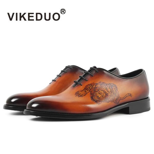 Vikeduo 2018 Handmade Italy Vintage Retro Brand Designer Wedding Party Dance Male Dress Shoe Genuine Leather Men Oxford Shoes