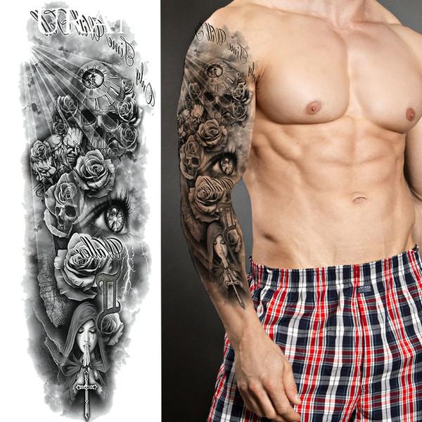 Tattoo Na Perna Longa Duração Preto Rezar Freira Tatuagem Temporária Adesivos Homens Braço Completo à Prova D água Tatto Mulheres Ombro Falso