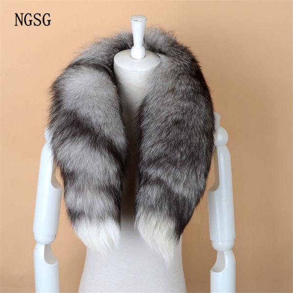 NGSG Real Fox Fur Scarf Women Men Striped Winter Warm 80-90CM Long Tail Scarf Fashion Luxury Collar Scarves Wraps Female W001 S18101904