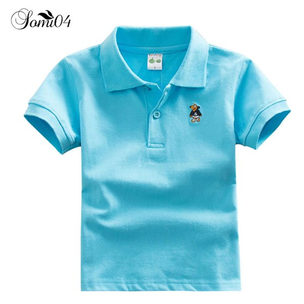 Children Kids Polo Shirts Solid Tee Short Sleeve Students Summer School Uniforms Big Teens Boys Little Girls Cotton Lapel Tops