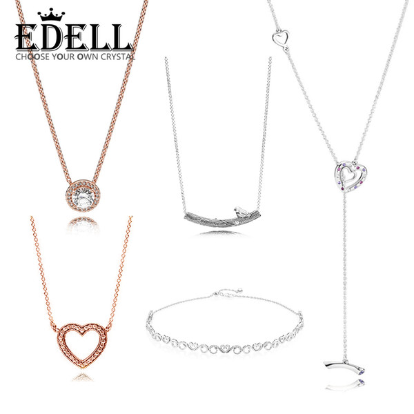 926267d0c EDELL 100% 925 Sterling Silver Authentic Charm ROSE CLASSIC ELEGANCE NECKLACE  HEART SWIRLS CHOKER Spring Bird Curved Bar