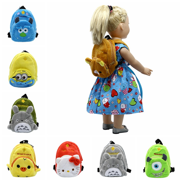 8 Colors Doll Accessories Cartoon Cute little Bag School Bag for 43cm Baby Born Zapf Doll and American Girl Doll B-4