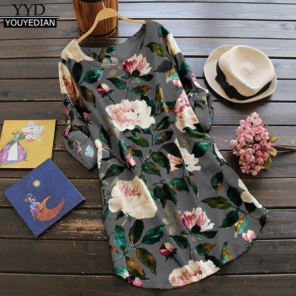 Plus Size 5XL Summer Boho Dress Women Linen Retro Floral Print O Neck Long Sleeve Casual Dress Vintage Loose Beach Dresses