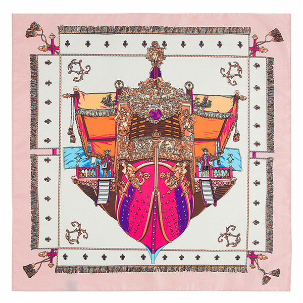Handmade Design Women Square Silk Scarf Red Pirate Ship Print Shawls and Wraps Foulard Femme Joker Womans Small Twill Scarves 60*60CM