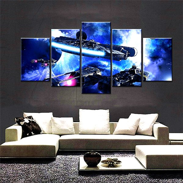 Millennium Falcon Republic Cruiser,5 Pieces The Latest Most Popular High-definition Canvas Printed Home Decorative Art/ Unframed / Framed