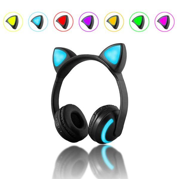 Auriculares del oído del gato de Bluetooth Fashion 2018 Parpadeo plegable que brilla intensamente Auriculares lindos del auricular con MIC de luz LED 7 colores cambian