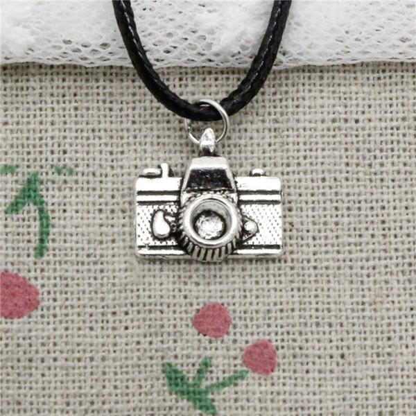 Creative Fashion Antique Silver Pendant camera 15*14mm Necklace Choker Charm Black Leather Cord Handmade Jewlery