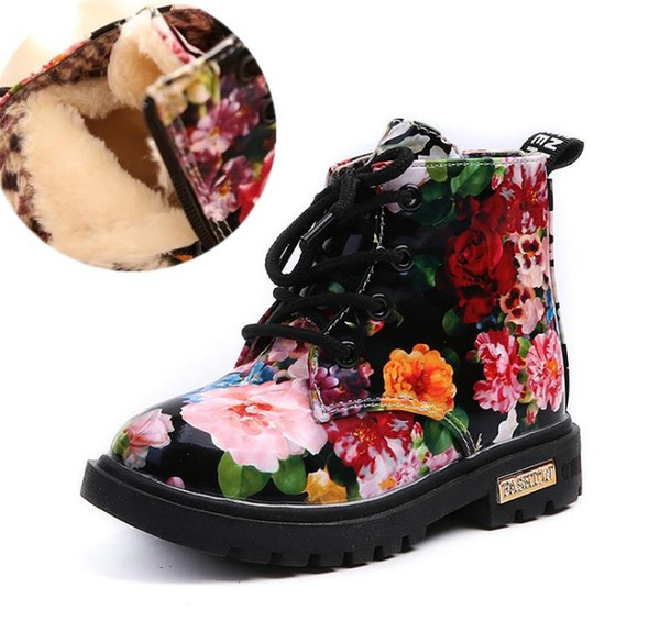 Cute Girls Boys Boots For New Fashion Elegant Floral Flower Print Kids Boy Winter Shoes Baby Martin Boots Casual Leather Children Boots