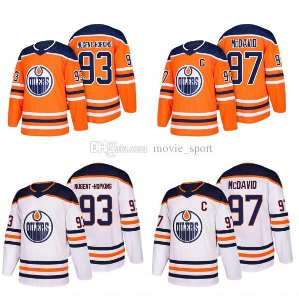 2018 Edmonton Oilers Jersey Männer # 97 Connor McDavid 93 Ryan Nugent-Hopkins Hockey Trikots 100% genähte Stickerei Billig Verkauf