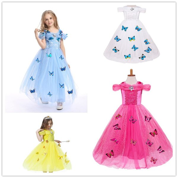2018 Baby Girls butterfly lace Dress Christmas Tutu princess Dresses Kids snowflake diamond Formal Party Dress Stage Performance Costume