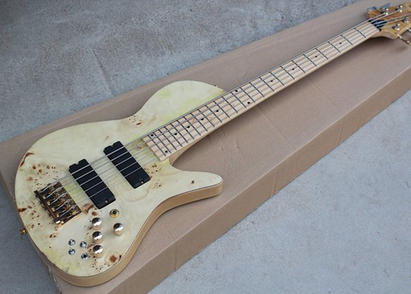 2018 Ageing 5-string ASH Neck-Thru-Body Electric Bass Guitar with Maple Fingerboard,Gold Hardwares,Good Quality