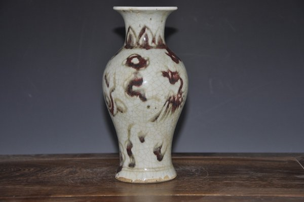 Antique Chinese Ceramic Porcelain Red Phoenix Crackle Vase For