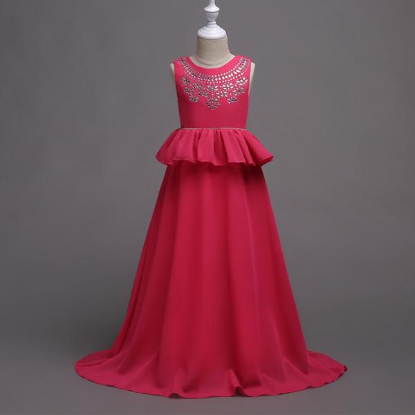 Korean version of Children's Wedding dress in the Big Boy dress Princess dress girl chiffon hot drill Pengpeng skirt
