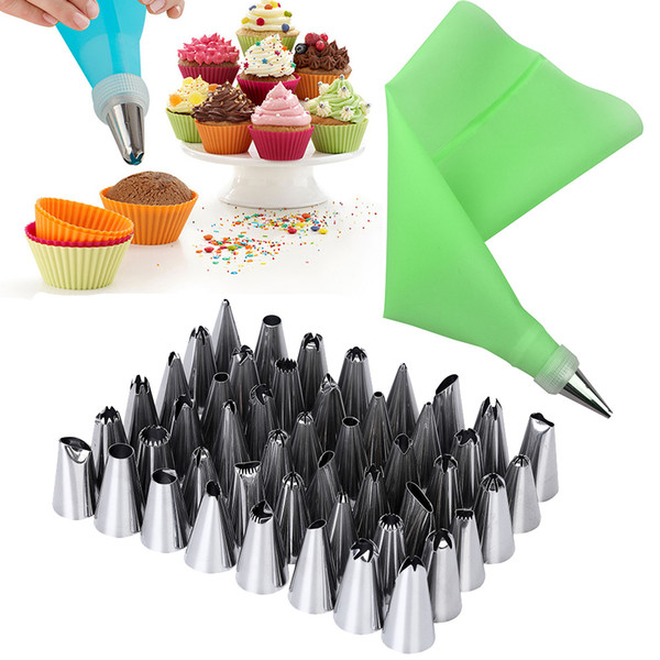 52 PCS/Set 2x 12in Silicone Icing Piping Cream Pastry Bag+48x Stainless Steel Nozzle Tips+2x Converter DIY Cake Decorating Tools