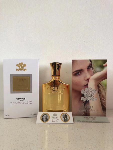 New Creed Perfume Golden Millesime Imperial Perfume 100 ml Hombres Mujeres Botella de oro con perfume de larga duración de alta fragancia.