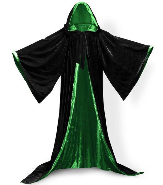 Long Sleeves Velvet Hooded Cloak 2018 Halloween Hooded Velvet Witches Princess Death Long Cape Adult Kids Costume