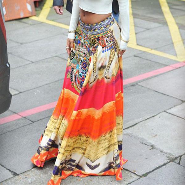 Jessie Vinson Summer Beach Plus Size Bohemia estilo vintage suelta falda larga cintura elástica Ice Silk Print Maxi Falda para mujer