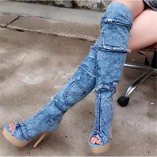 Fashion Denim Patchwork Over The Knee Booties Joint Peep Toe Platform Thin High Heels Thigh High Boots Jeans Cowboy Boots For Women