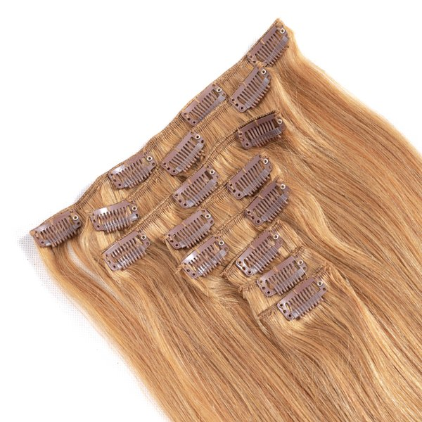 Straight Clip In Hair Extensions 8 Pcs/set 1b# 2# 4# 27# 27#613 613# Brazilian Human Hair Vendors Virgin Hair Extensions Fast Shipping