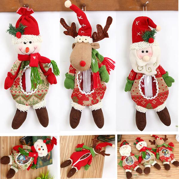 Nouveau Noël Poupée Cadeaux Sacs Santa Bonhomme De Neige Elk Renne Poupée De Bonbons Apple Sacs Jar De Noël En Peluche Jouets Ornements Décorations HH7-1559