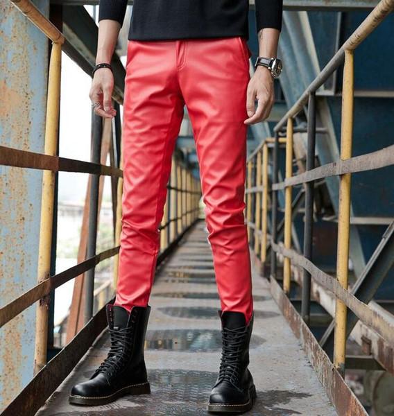 Automne hiver personnalité mode slim moto faux cuir pantalons hommes pieds pantalons pu pantalons pour hommes pantalon homme rouge