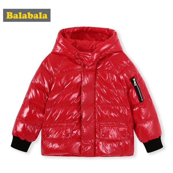 Balabala Winter down Jacket For Boy Hooded Thicken Long Sleeve Jackets Outerwear Coats Children Down Parkas spring Clothing