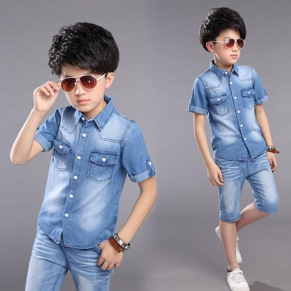 New 2019 Boys Children Summer Short Sleeve Denim T Shirt And Shorts 2pcs Clothin Sets For Teens Boys School Sports Kids Suits Sets