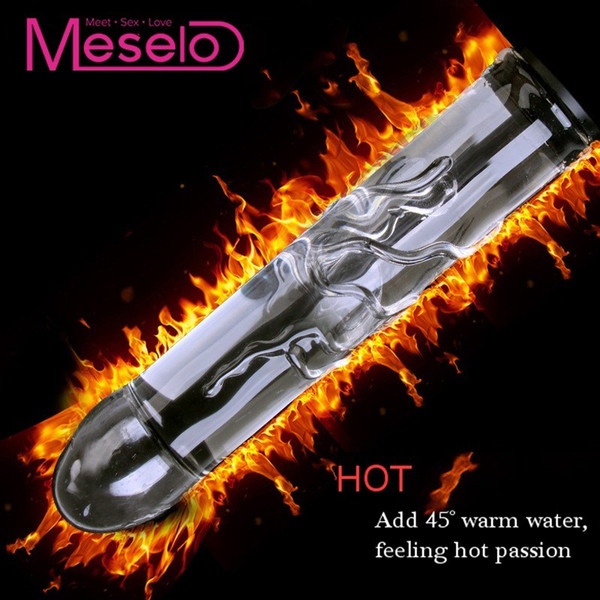 Meselo Novelty Glass Dildo Can Inject Hot/Cold Water,Hollow Add Water Glass Vibrator Cool Warm Anal Butt Plug Sex Toys For Women D18111304
