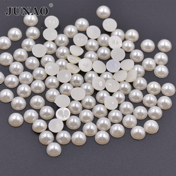 JUNAO 2 4 6 8 10 12 14 18 20mm White Ivory Plastic Pearls Beads Half Round Pearl Flatback Scrapbook Beads For Dress Jewelry Making