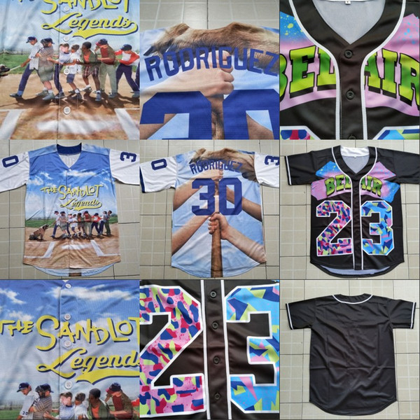 Mens 3D Printed Baseball Jersey The Sandlot Legends 30 Benny 'The Jet' Rodriguez 100% Stitched Sewn Button 3d Baseball Shirts Cheap S-XXXL