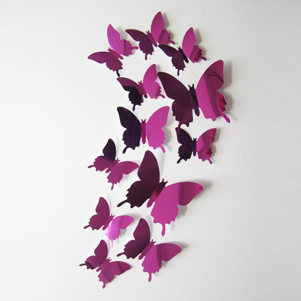 ome Decoration Posters Stickers 12pcs/set Beautiful DIY Mirror Silver 3D Butterfly Wall Stickers Party Wedding Decor Home Decoration Wa...