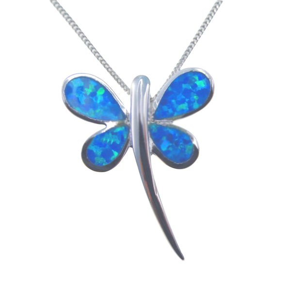 Fashion jewelry 925 silver blue Opal Pendant Distribution stainless steel chain presented gift Rhodium Plated DR032828P Free Shipping