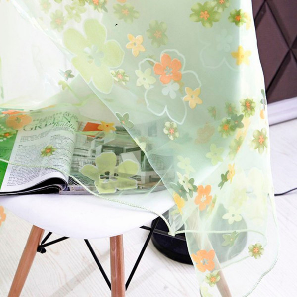Curtain Factory Price! Floral Print Sheer Curtain Panel Window Balcony Tulle Room Divider Scarf