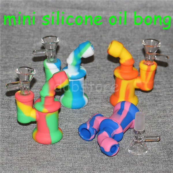 Hot Mini silicone Oil Rigs silicone Bongs Water Pipes with 3.5 Inch Thick Pyrex Recycler Heady Breaker Bong Pipes Oil Rig waterpipes