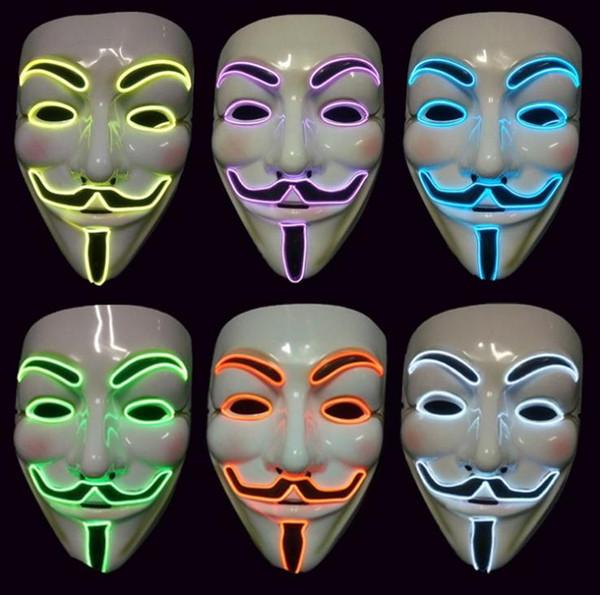 EL Wire MÁSCARA LED Vendetta Party Fashion V Cosplay Guy Fawkes Máscara Anónima para Fiesta de Halloween Decoración Miedo SN1572