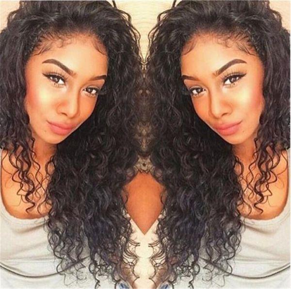 Kinky Curly Silk Top Lace Front Human Hair Wigs Virgin Peruvian Glueless Human Hair Color #1B for Black Women