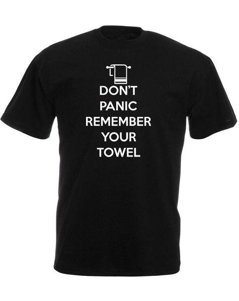 Wholesale T Shirts Crew Neck Men Graphic Short Sleeve Don'T Panic Remember Your Towel, T Shirts