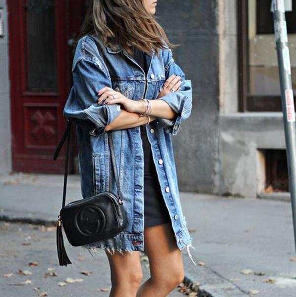Womens High Street Loose Denim Jackets Coats Long Jackets Ripped Design Fashion Denim Coats Womens Tops Outerwear Jackets
