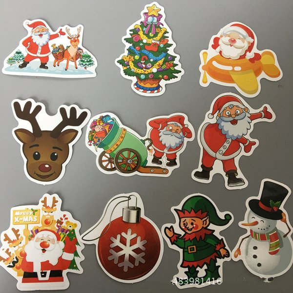 2019 Christmas Sticker Snowman Santa Claus Decoration Sticker Diy Home Decor Car Stickers Computers Luggage Auto Decal For Kids Gift From