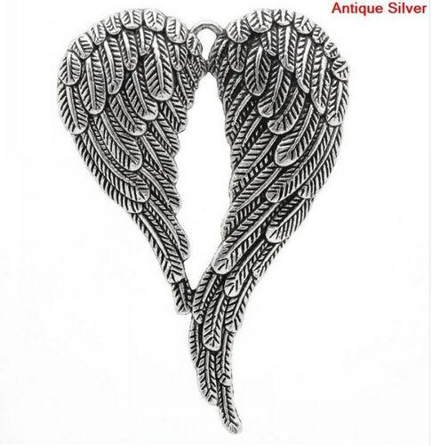 10Pcs/lot Vintage Silver Angel Wings Charms Metal Big Pendant For Jewelry Making 47*69mm